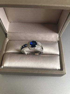 925 Stamped Sterling Silver Sapphire stones Rind Sz10 for Sale in Wood Dale, IL