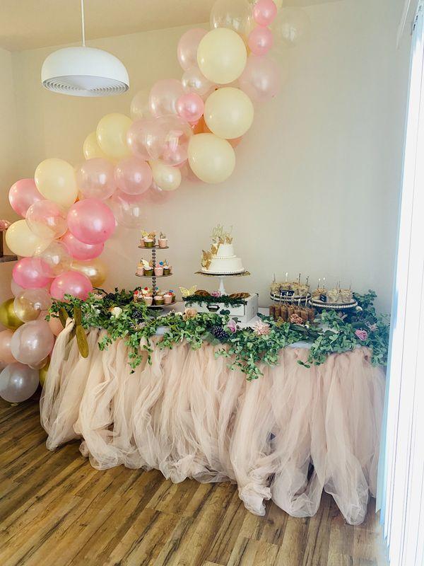Blush tulle table skirt for sale