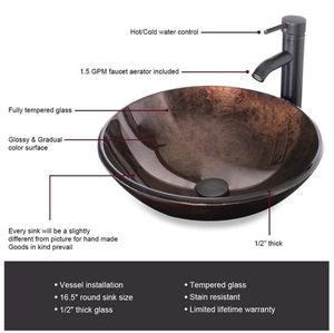 (NEW) Brown Round Tempered Glass Vessel Sink (Sink+Faucet Only) for Sale in West Springfield, VA