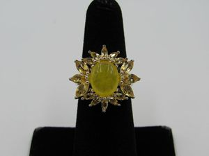 Size 6 Sterling Silver Uncut & Cut Citrine Band Ring Vintage Statement Engagement Wedding Promise Anniversary Bridal Cocktail Friendship for Sale in Lynnwood, WA