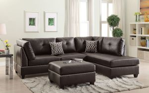 FREE DELIVERY $50 DOWN Espresso leather sectional sofa & ottoman for Sale in Miami Beach, FL