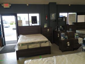 Grey brown 5 piece bedroom set mattress not included with bed for Sale in Columbus, OH