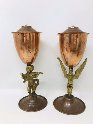Vintage Gilded Brass Figural - Copper Oil Lamps for Sale in Trenton, MI