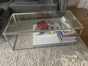 Glass coffee table dual level chrome finishes for Sale in New York, NY