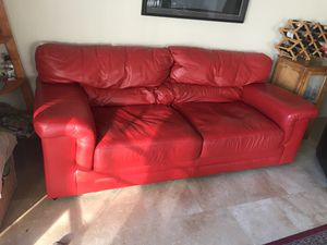 Beautiful red leather couch for Sale in Pleasanton, CA