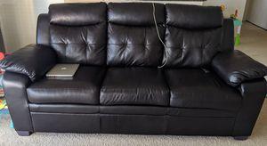 Dark brown leather sofa (3 seater + loveseat). Used - like new for Sale in Alexandria, VA