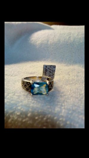 Brand new beautiful sterling silver and blue cubic zerconia women's ring with marcasite size 8 for Sale in Hemet, CA
