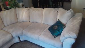 Bone Suede sectional couch for Sale in Salt Lake City, UT