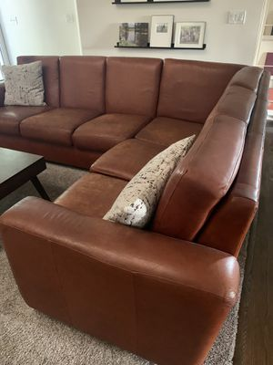 All leather sectional couch - gorgeous! for Sale in Brea, CA