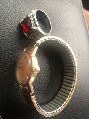 Antique gold watch Hamilton brand and a red ruby ring for Sale in Palo Alto, CA