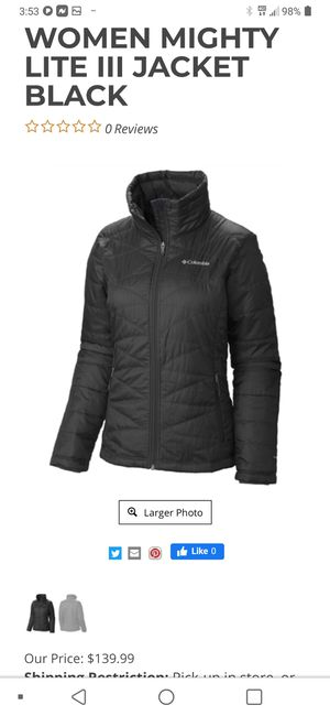 $139.99 COLUMBIA WOMENS WARMING JACKET for Sale in Greenbelt, MD
