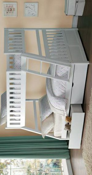 Galen White Twin/Full Bunk Bed /SAME DAY DELIVERY for Sale in Houston, TX