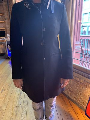 Black wool coat with shearling collar and leather straps for Sale in New York, NY