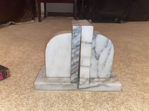 """6"""" Tall, 4"""" Wide, 3.5"""" Thick Antique Natural Marble Stone Made in Taiwan Republic of China Bookends for Sale in Plainfield, IL"""