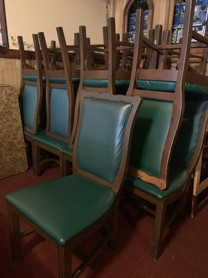 Top table 36x36 and 24 chairs solid wood for Sale in Houston, TX