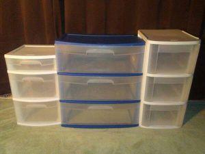 Three Plastic 3 Drawer Dressers/Organizers for Sale in Gaylord, MI