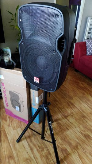 """Rockville SPGN128 12"""" Passive 1200W DJ PA Speaker ABS Lightweight Cabpiinet 8 Ohm and Rockville Stand new for sale  box for Sale"""