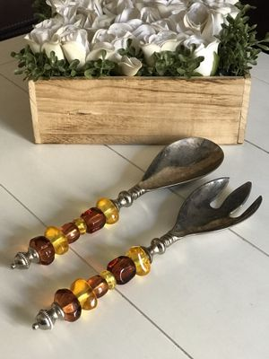 Serving Spoon and Fork, Fall Color Glass Beads for Sale in San Dimas, CA