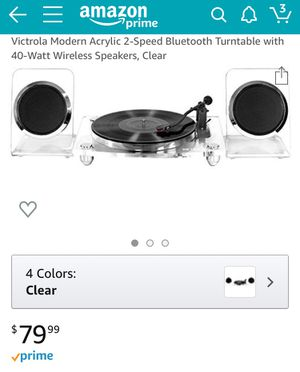 CLEAR TURNABLE WITH WIRELESS SPEAKERS for Sale in Los Angeles, CA