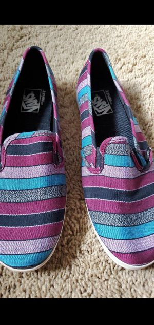 Striped purple and blue low top women's VANS size 10.5 for Sale in Garden Grove, CA