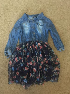 Denim dress with flower lace skirt for Sale in Riverside, CA