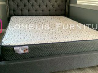 Full Gray Tufted Bed W. Orthodox Mattress Included for Sale in Victorville,  CA