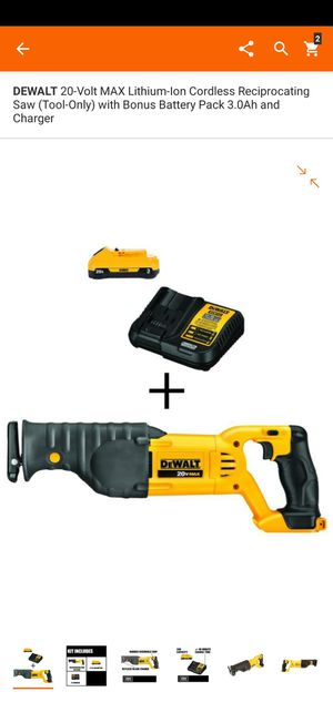 DEWALT 20-Volt MAX Lithium-Ion Cordless Reciprocating Saw (Tool-Only) with Bonus Battery Pack 3.0Ah and Charger for Sale in Dumfries, VA
