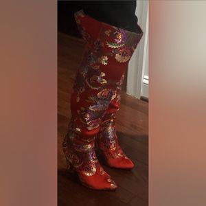 Red floral knee boots for Sale in McLean, VA