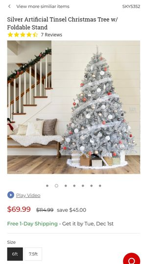 6ft Silver Artificial Tinsel Christmas Tree for Sale in Columbia Station, OH