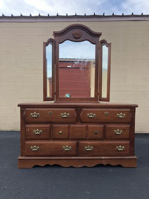 Solid Wood 7 Drawer Long Dresser With Mirror Project Piece for Sale in Woodbridge, VA