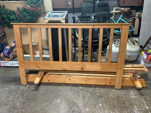 Queen bed frame with wood slat base for Sale in San Jose, CA
