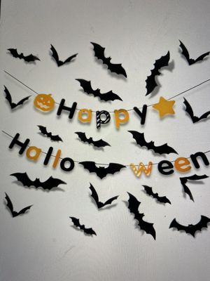 halloween indoor party supplies happy halloween banner(1pcs)&3d decoration scary bats wall decal wall sticker(60pcs) for Sale in Rowland Heights, CA