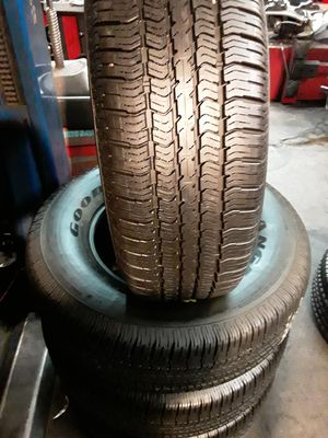 Set of semi new 265/70/17 GOODYEAR WRANGLER ST 95% tread includes installation and balance for Sale in La Mirada, CA