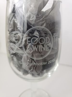 Disney Epcot 20th Anniversary Food and Wine Festival 2015 Passholder Wine Glass for Sale in Orlando, FL