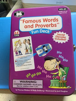 Famous words and proverbs cards for kids for Sale in Huntington Beach, CA