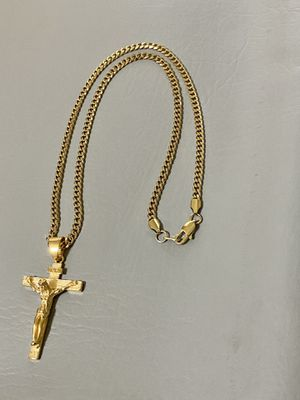 Curb Cuban link PVD GOLD PLATED 4mm necklace 22inches in length with Cross Charm for Sale in Orlando, FL