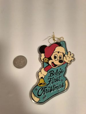 "Vintage 1984 Disney's Mickey Mouse ""Baby's First Christmas"" Acrylic Ornament for Sale in New Haven, CT"