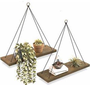 Wall Hanging Shelf - Set Of 2 Wood Hanging Shelves for Sale in Calabasas, CA