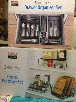 5 piece Metal mesh drawer organizer set 3 piece kitchen organizer set for Sale in Azusa, CA
