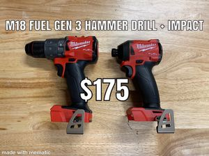Milwaukee M18 Fuel Hammer Drill & Impact driver gen 3 for Sale in Irwindale, CA