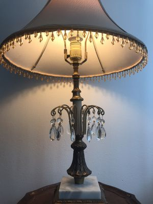 Brass lamp marble & crystal for Sale in Evanston, IL