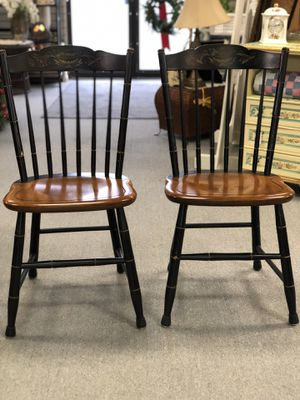 2 wooden L. Hitchcock Chairs in Black Harvest for Sale in Garland, TX