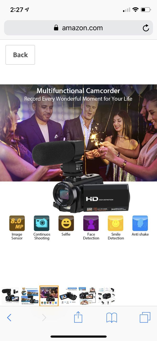 Video Camera Camcorder Digital YouTube Vlogging Camera Recorder FHD 1080P 24.0MP 3.0 Inch 270 Degree Rotation Screen 16X Digital Zoom Camcorder with
