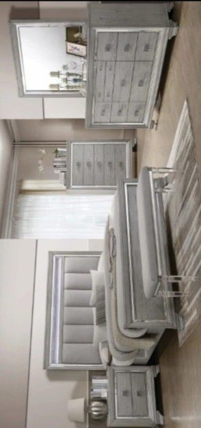 SAME DAY FREE DELIVERY Vail Gray LED Panel Bedroom Set $39 DOWN PAYMENT for Sale in Houston, TX