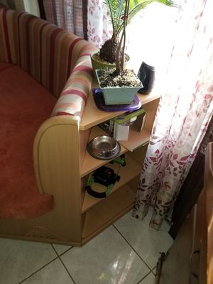 Kitchen nook really nice excellent condition comes with 2 chairs an corner open shelves for Sale in Ceres, CA