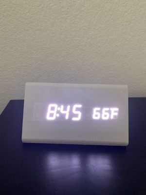 Modern white wooden digital clock with temp display for Sale in Henderson, NV
