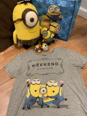 Minion themed clothes+tote bag + toys for Sale in Woodland, CA