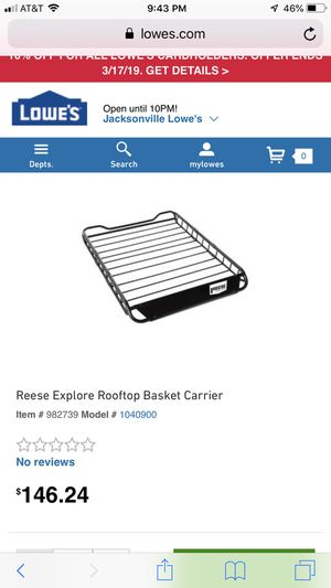 Reese explore rooftop basket for Sale in Jacksonville, NC