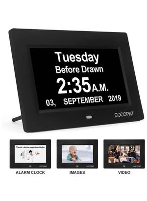 Dementia Digital Day Week Clock - 19 Alarms Am/Pm Clock with USB Charger Port, SD Card Support Play Picture, Video, Large Display for Seniors,Perfect for Sale in Eastvale, CA