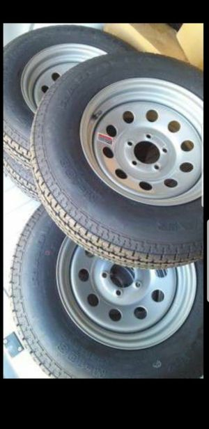 4 New Trailer 5 lug 5x4.5 Rims/Wheels with ST-225/75/15 R15 inch Tires Tire for Sale in Moreno Valley, CA